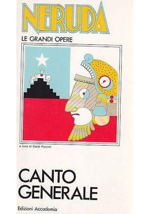 CANTO GENERALE VOL I di Pablo Neruda con testo spagnolo a fronte 1970 Accademia