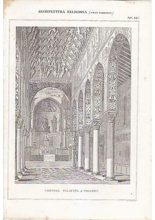 CAPPELLA PALATINA A PALERMO architettura  INCISIONE STAMPA RAME 1866 ORIGINALE
