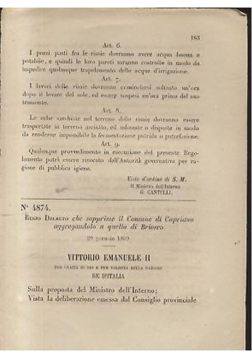 CAPRIANO - BRIOSCO - REGIO DECRETO 1869 monza brianza Regno Italia ORIGINALE