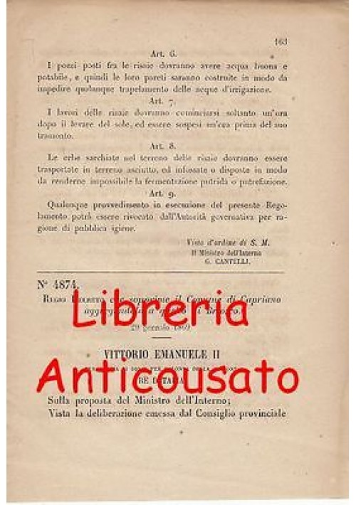 CAPRIANO SOPPRESSO REGIO DECRETO 1869 AGGREGATO BRIOSCO originale Monza Brianza