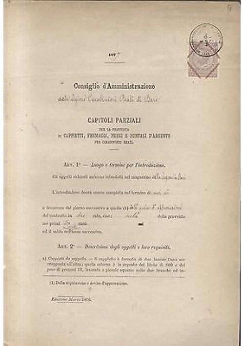 CARABINIERI REALI LEGIONE BARI 1877 CAPITOLI PROVVISTA CAPPIETTI FERMAGLI FREGI