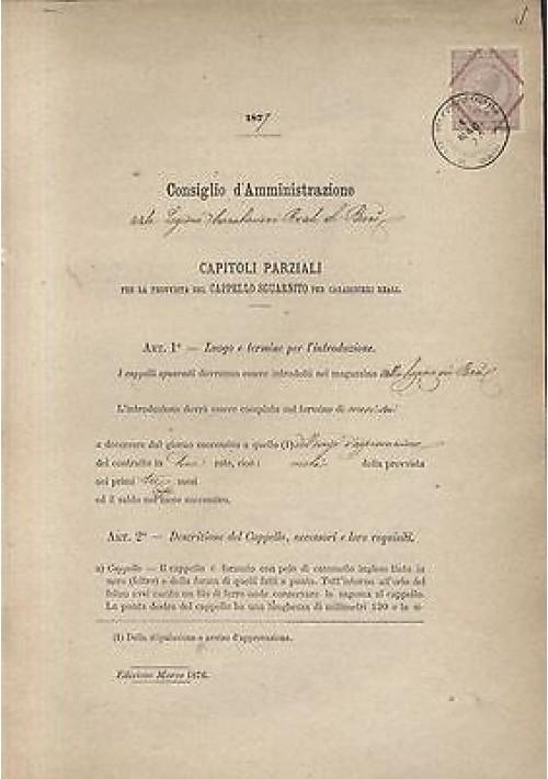 CARABINIERI REALI LEGIONE DI BARI 1877 CAPITOLI PROVVISTA CAPPELLO SGUARNITO