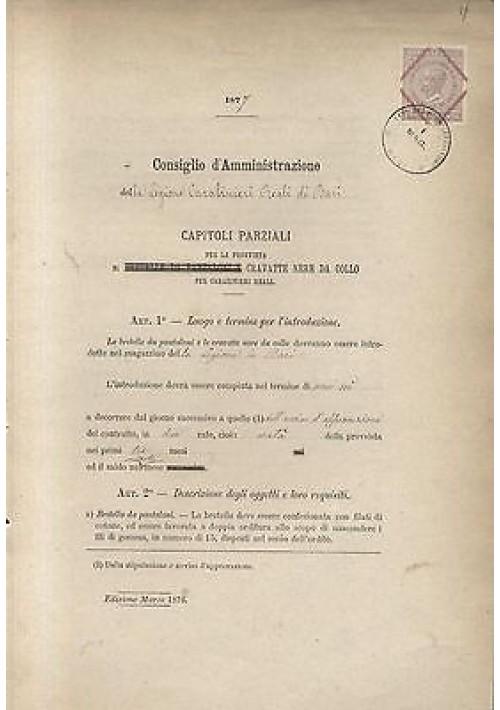 CARABINIERI REALI LEGIONE DI BARI 1877 CAPITOLI PROVVISTA CRAVATTE NERE DA COLLO
