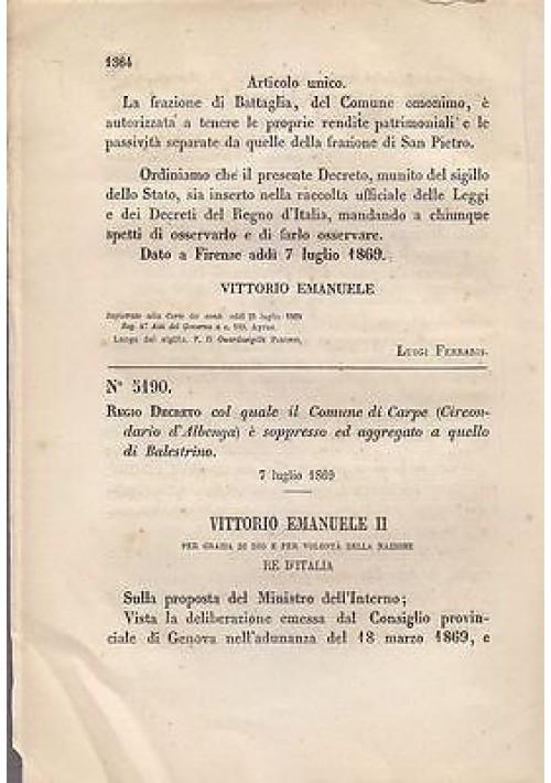 CARPE CIRCONDARIO D'ALBENGA SOPPRESSO REGIO DECRETO 1869 AGGREGATO BALESTRINO