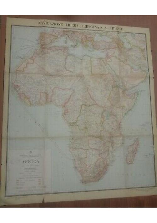 CARTA GEOGRAFICA AFRICA Ministero delle colonie navigazione libera triestina