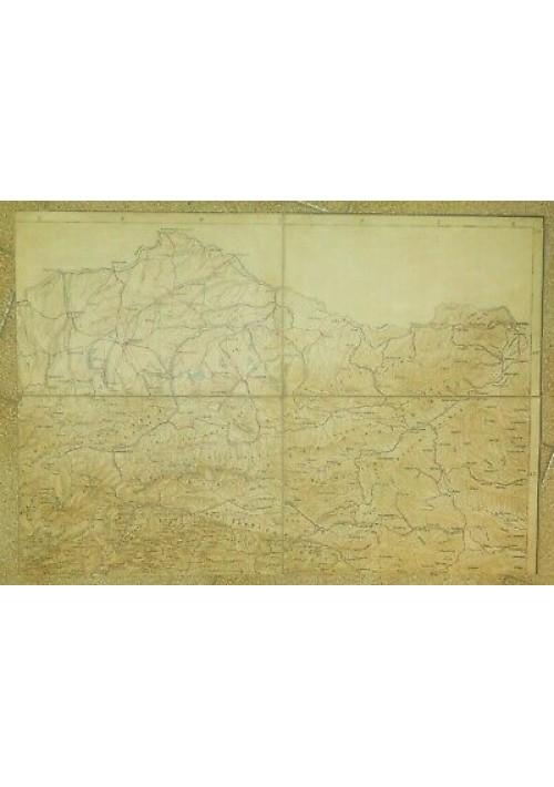 CARTA GEOGRAFICA ALPI CARNICHE ORIENTALI AUSTRIA primi del '900 mappa telata