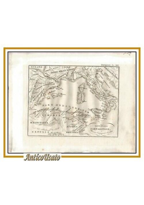 CARTA GEOGRAFICA MEDITERRANEO ITALIA primi 800 incisione stampa antica Cartagine