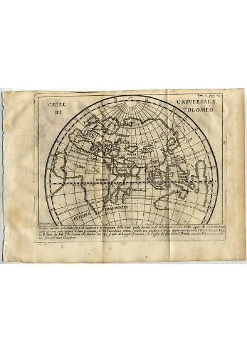 CARTE UNIVERSALE DI TOLOMEO 1740 MAPPA INCISIONE STAMPA RAME ANTICA GRAVURE