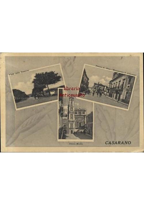 CARTOLINA CASARANO (LECCE) VIAGGIATA 16/01/1942 Viale della stazione, piazza A. Diaz Chiesa Madre