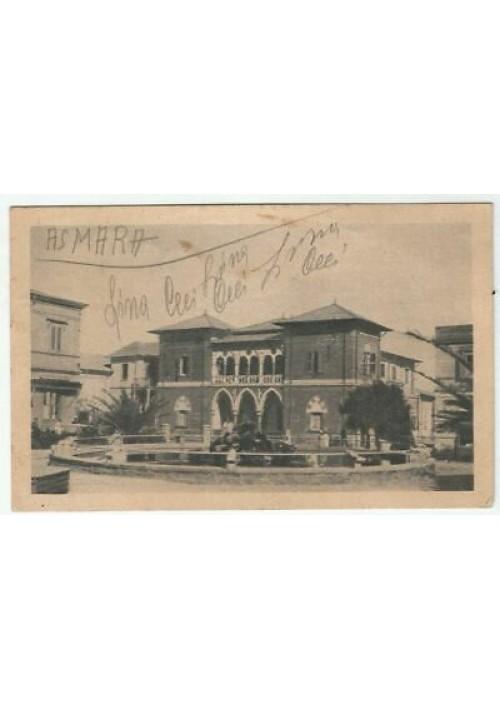 CARTOLINA ERITREA Asmara Piazza Roma Palazzo della Banca d'Italia VIAGGIATA 1939