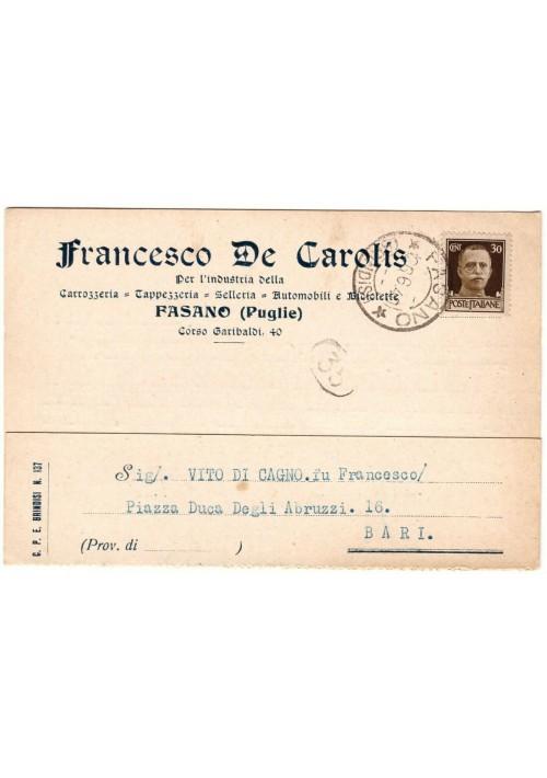 CARTOLINA FRANCESCO DE CAROLIS - FASANO viaggiata f.to grande