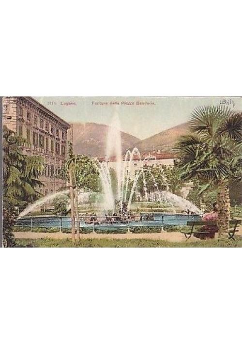 CARTOLINA LUGANO FONTANA DELLA PIAZZA BANDORIA  1911 VIAGGIATA a colori