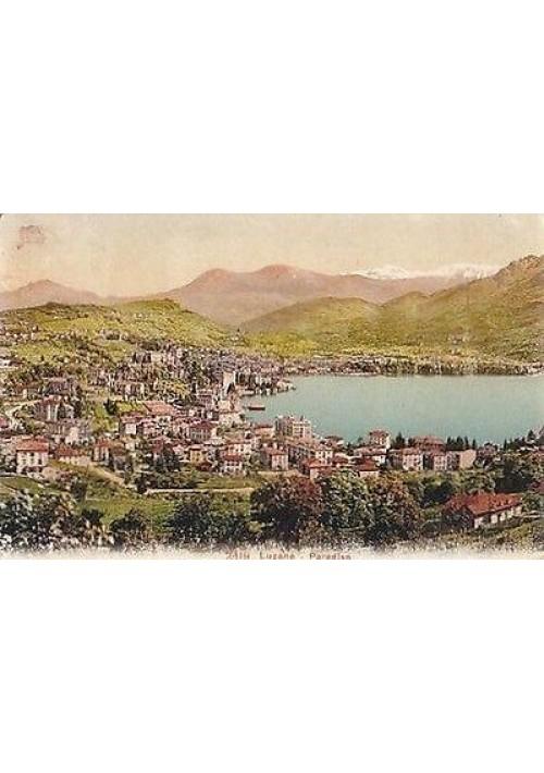 CARTOLINA LUGANO - PARADISO viaggiata 1911 a colori affrancata francobollo svizz