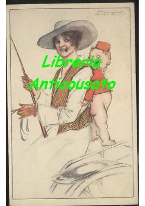 CARTOLINA MAUZAN VIAGGIATA 26/03/1917 ILLUSTRATA A COLORI - ORIGINALE