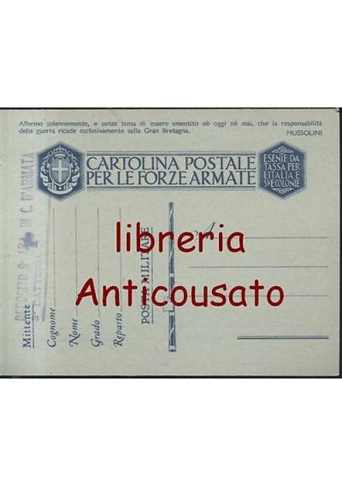CARTOLINA PER LE FORZE ARMATE - responsabilità guerra - MUSSOLINI corpo d'armata