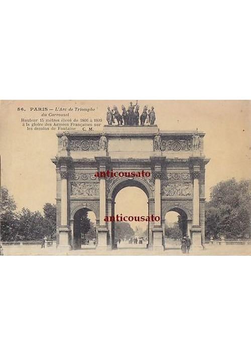 CARTOLINA Paris Arc de Triomphe du Carrousel - viaggiata 1911? animata postcard