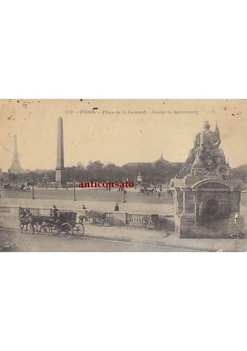 CARTOLINA Paris Place de la Concorde Statue de Stranbourg - viaggiata 1919