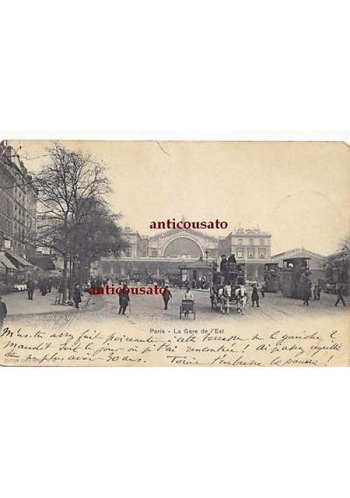CARTOLINA Paris la Gare de l Est - viaggiata 1902 animata postcard