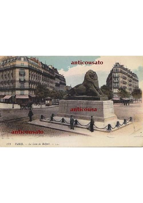 CARTOLINA Paris le lion de Belfort LL - viaggiata 1918 colori animata postcard