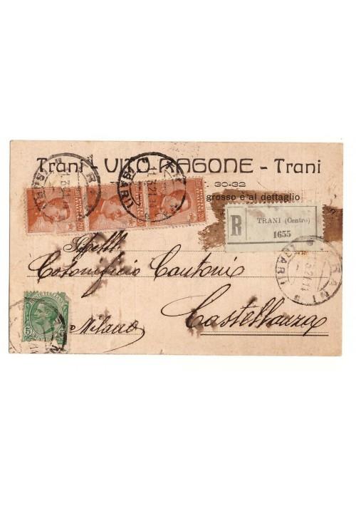 CARTOLINA VITO RAGONE - TRANI viaggiata 1921 f.to piccolo