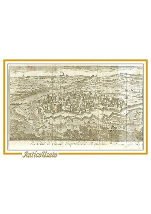 CASALE MONFERRATO 1751 INCOMPLETA Incisione stampa acquaforte antica originale