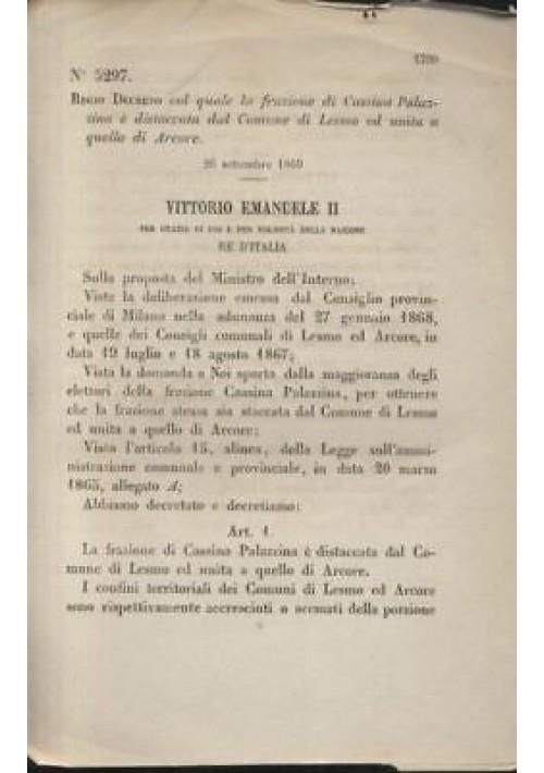CASSINA PALAZZINA - REGIO DECRETO 1869 - LESMO ARCORE originale dell'epoca