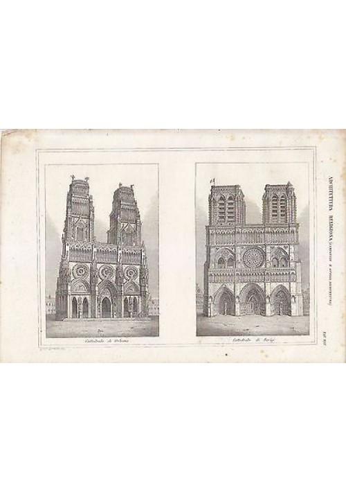 CATTEDRALE DI ORLEANS CATTEDRALE DI PARIGI  INCISIONE STAMPA RAME 1866 ORIGINALE
