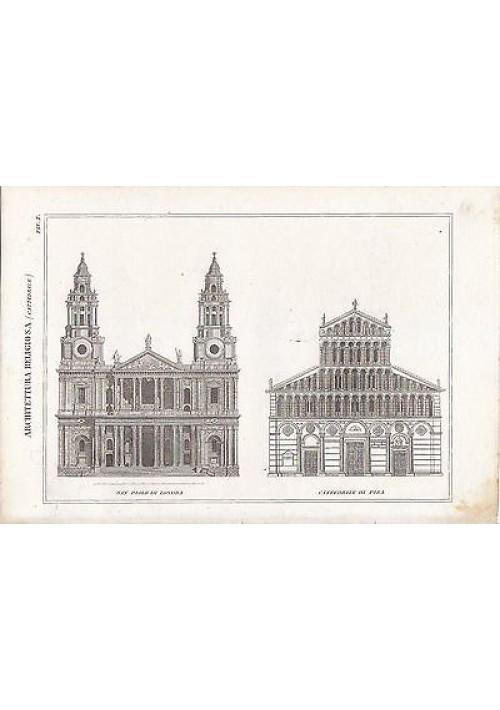 CATTEDRALE DI PISA SAN PAOLO DI LONDRA  INCISIONE STAMPA RAME 1866 ORIGINALE