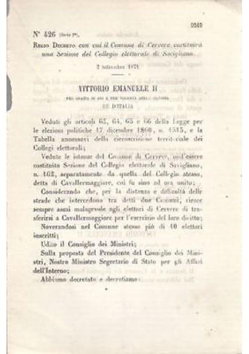 CERVERE COMUNE SAVIGLIANO REGIO DECRETO 2 settembre 1871 ORIGINALE REGNO ITALIA