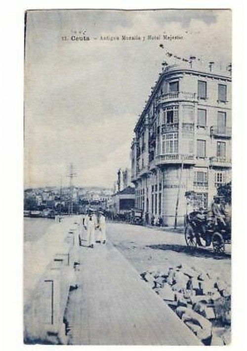 CEUTA antigua muralla j hotel majestic  viaggiata 1921? tarjeta postal cartolina