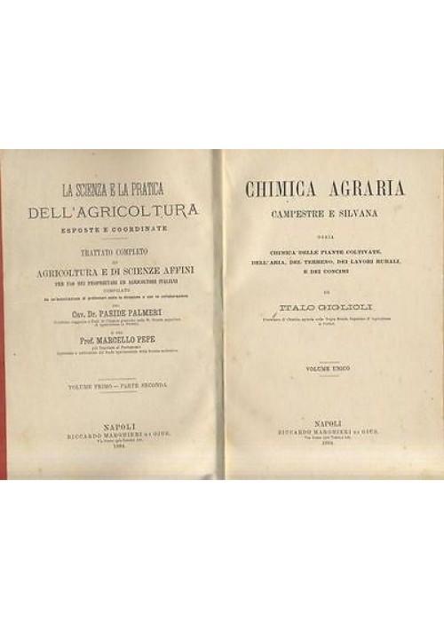 CHIMICA AGRARIA CAMPESTRE E SILVANA di Italo Giglioli - 1884 Riccardo Marghieri