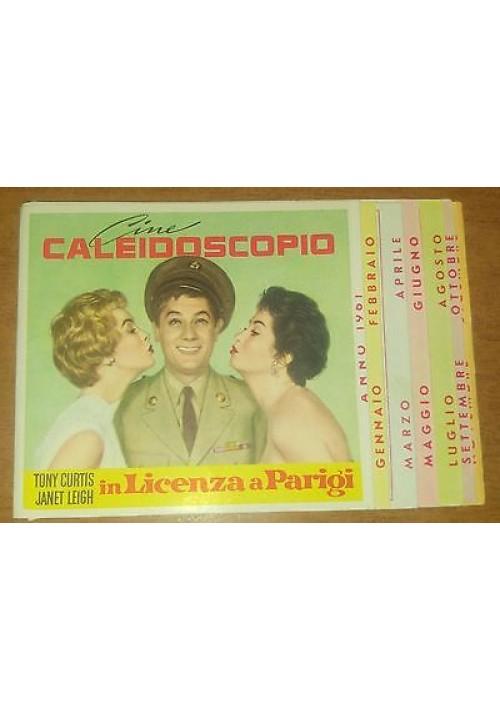 CINE CALEIDOSCOPIO calendarietto da barbiere 1961 Sophia Loren Brigitte Bardot
