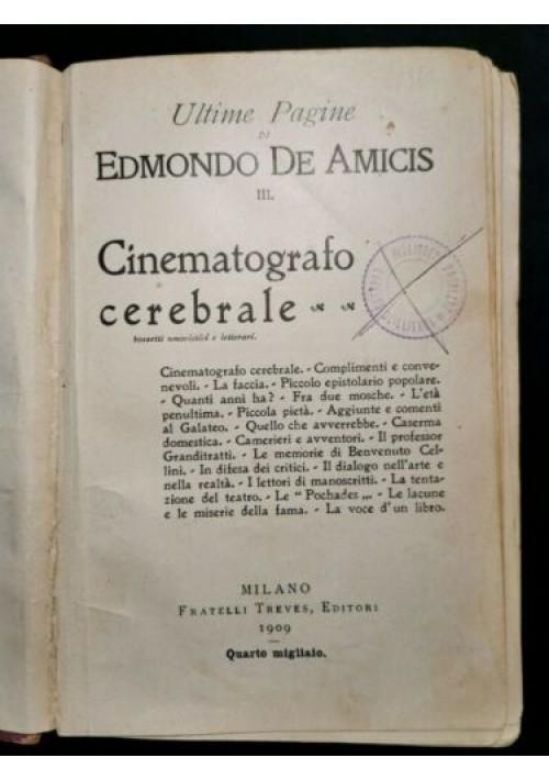 CINEMATOGRAFO CEREBRALE di Edmondo De Amicis 1909 Treves libro narrativa opere
