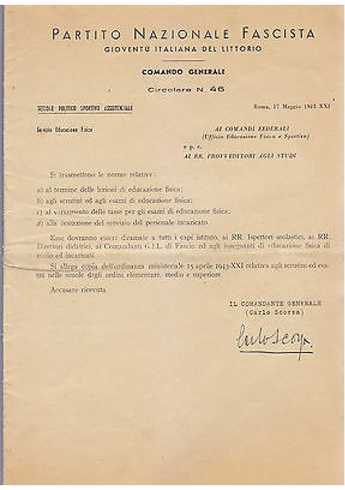 CIRCOLARE N. 46 17 MAGGIO 1943 scrutini esami educazione fisica GIL PNF littorio