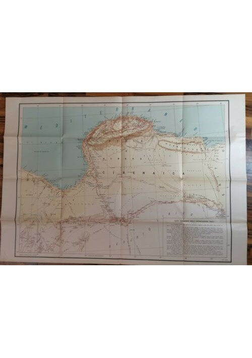 CIRENAICA TRIPOLITANIA carta geografica mappa originale d'epoca Libia