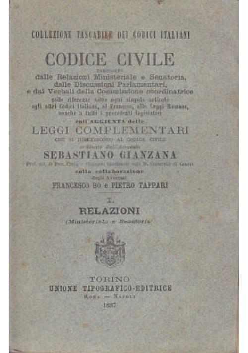 CODICE CIVILE aggiunta leggi complementari vol.I - Sebastiano Gianzana 1887 UTET