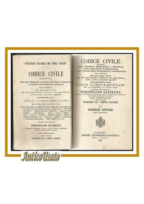 CODICE CIVILE con referenze volume V di Gianzana 1887 UTET libro diritto antico