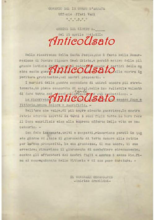 COMANDO DEL 9° CORPO D'ARMATA  volantino originale SANTA PASQUA 25/04/1943