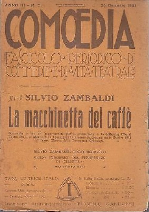 COMOEDIA - ANNO 3 N.2 - 25 GENNAIO 1921 - LA MACCHINETTA DEL CAFFE' -S. ZAMBALDI