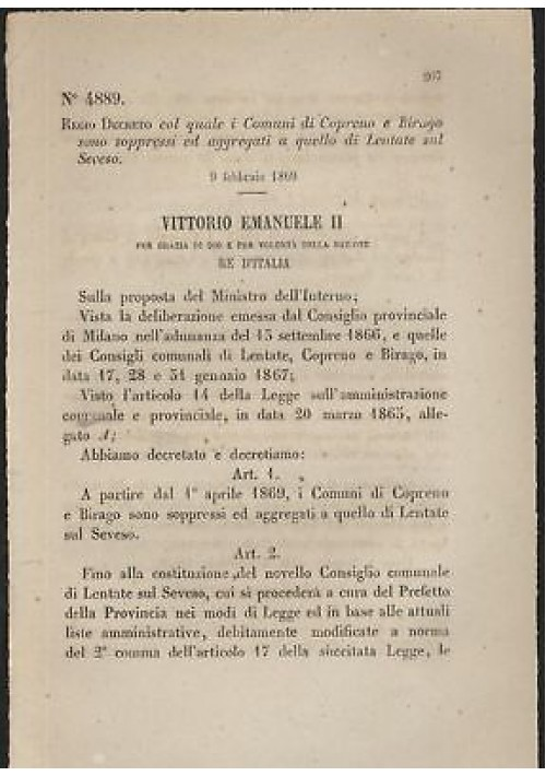 COPRENO BIRAGO - REGIO DECRETO 1869  LENTATE SUL SEVESO