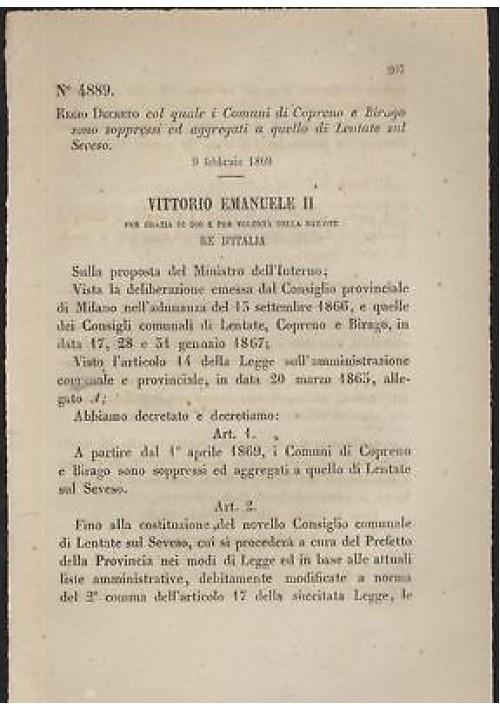 COPRENO BIRAGO soppressi- REGIO DECRETO 1869  aggregati LENTATE SUL SEVESO