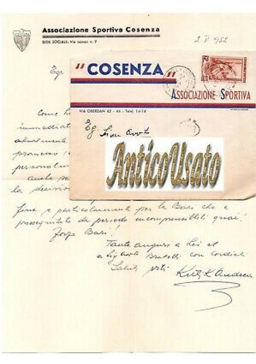COSENZA AS calcio lettera intestata 1952 Autografo Andrea Kulik ? Bari documento