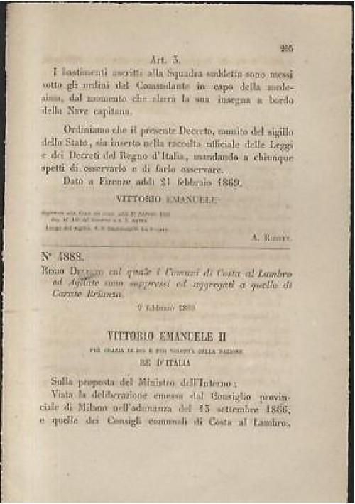 COSTA AL LAMBRO AGLIATE - REGIO DECRETO 1869 - CARATE