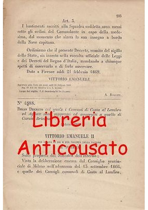 COSTA AL LAMBRO E AGLIATE SOPPRESSI REGIO DECRETO 1869 AGGREGATI CARATE BRIANZA