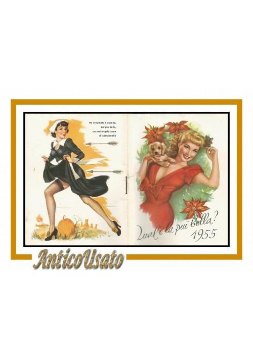 Calendarietto da Barbiere QUAL E' LA PIU' BELLA 1955 originale Vintage pin up