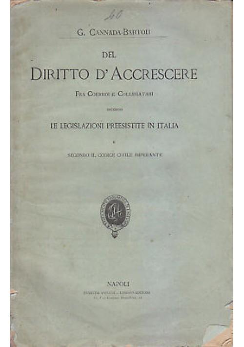 DEL DIRITTO D'ACCRESCERE fra coeredi collegatari G. Cannada Bartoli fine '800