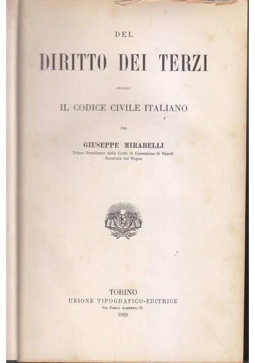 DEL DIRITTO DEI TERZI Giuseppe Mirabelli 1889 Unione Tipografica Editrice