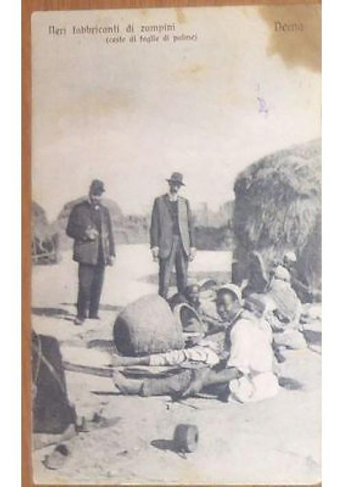 DERNA neri fabbricanti di zampini ceste foglie di palme CARTOLINA VIAGGIATA 1912