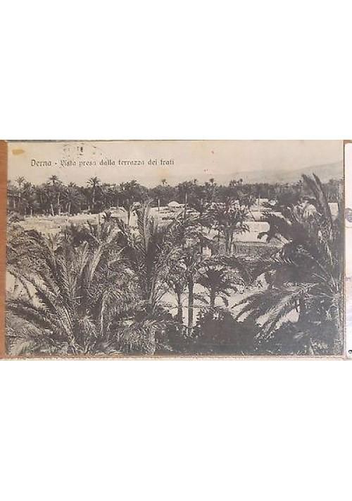 DERNA vista presa dalla terrazza dei frati VIAGGIATA 1912 timbro croce rossa