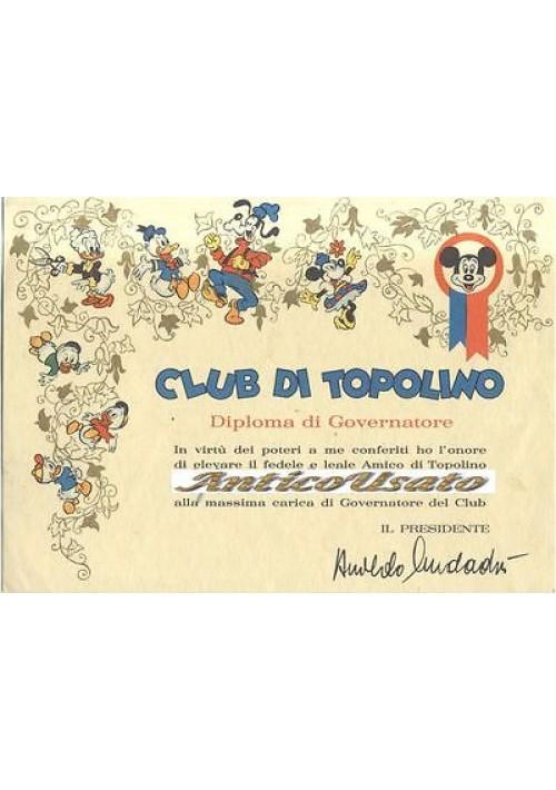 DIPLOMA DI GOVERNATORE CLUB DI TOPOLINO  DISNEY anni '60? ORIGINALE RARO